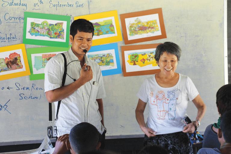 Small Art School art lesson at Angkor Krau village